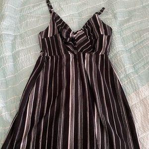 striped black and white romper